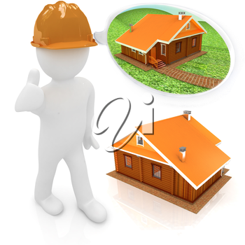 3d architect in a hard hat with thumb up with real plans. 3d image. Isolated white background.