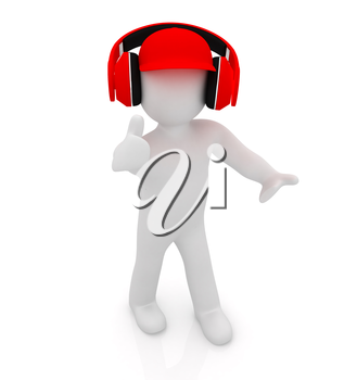 3d white man in a red peaked cap with thumb up and headphones on a white background