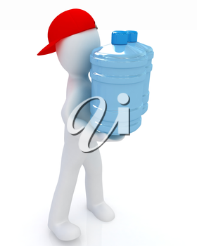 3d man carrying a water bottle with clean blue water on a white background