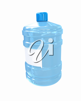 Bottle with clean blue water on a white background