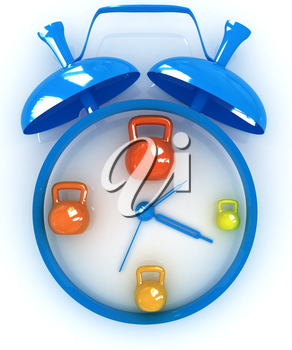 Alarm clock icon with kettlebells. Sport concept on a white background