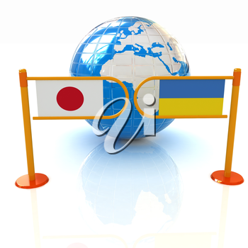 Three-dimensional image of the turnstile and flags of Japan and Ukraine on a white background