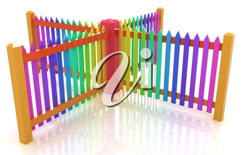 Colorfull glossy fence on a white background