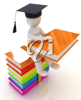 3d man in graduation hat with useful books sits on a colorful glossy boks on a white background