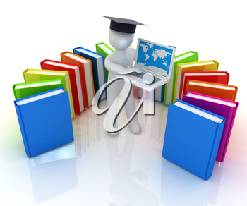 3d man in graduation hat working at his laptop and books on a white background