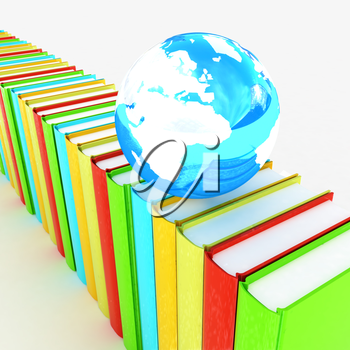 Colorful books and earth on a white background