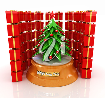 Christmas tree and gifts on a white background