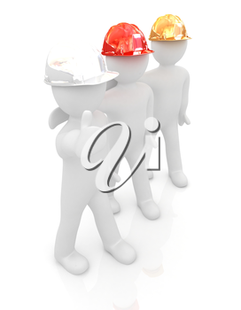 3d mans in a hard hat with thumb up. On a white background