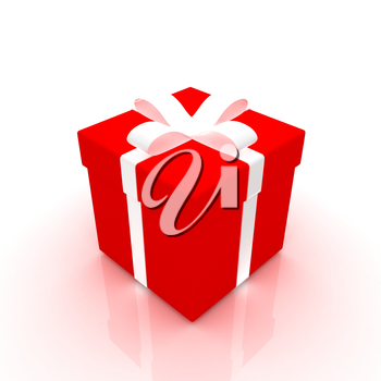 Bright christmas gift on a white background