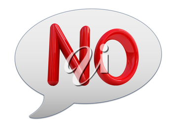 messenger window icon. 3d Red text  No!