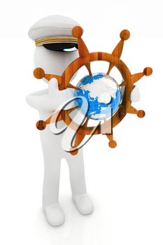 Sailor with wood steering wheel and earth. Trip around the world concept on a white background