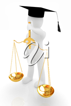 3d man - magistrate with gold scales. Isolated over white