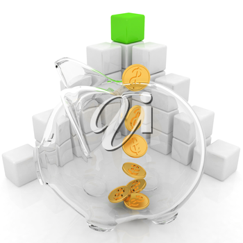 cubic diagram structure and piggy bank on a white background