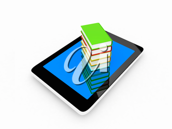 tablet pc and colorful real books on white background