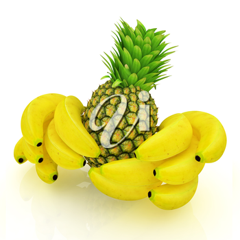 pineapple and bananas on a white background