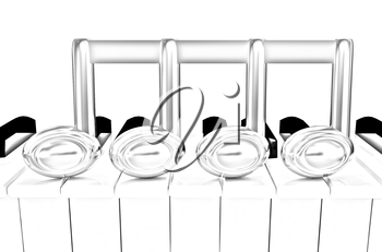 3d note on a piano on a white background