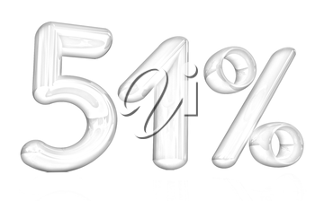 3d red 51 - fifty one percent on a white background