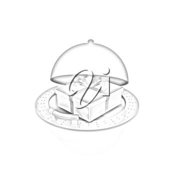 Illustration of a luxury gift on restaurant cloche on a white background