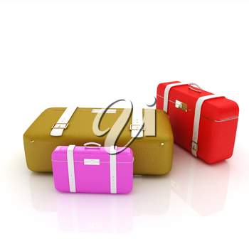 Traveler's suitcases. Family travel concept