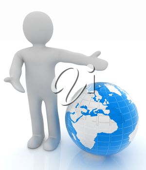 3d people - man, person presenting - pointing. Global concept with earth