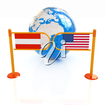 Three-dimensional image of the turnstile and flags of USA and Austria on a white background