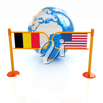 Three-dimensional image of the turnstile and flags of USA and Belgium on a white background