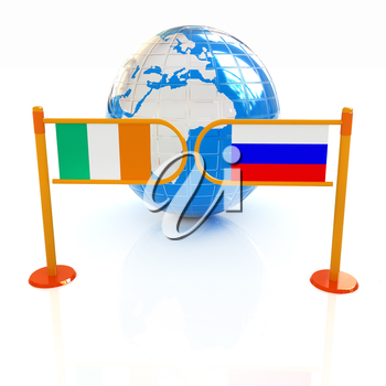 Three-dimensional image of the turnstile and flags of Ireland and Russia on a white background