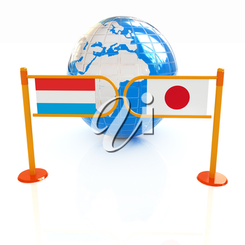 Three-dimensional image of the turnstile and flags of Japan and Luxembourg on a white background