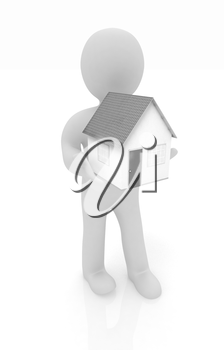3d man with house on a white background