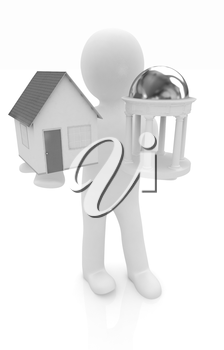 3d man with houses and rotunda on a white background
