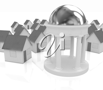 Rotunda and houses on a white background