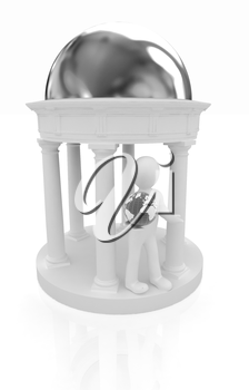 3d man in rotunda with earth on a white background