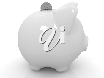 glass piggy bank and falling coins on white background