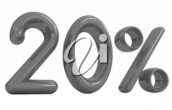 3d red 20 - twenty percent on a white background