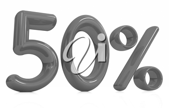 3d red 50 - fifty percent on a white background