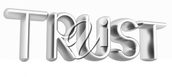 3d metal text trust on a white background
