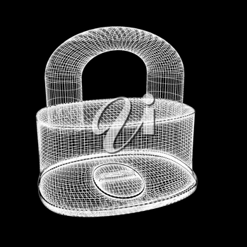 3d model lock isolated on a black background