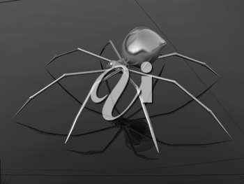 Chrome spider on a white background