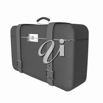 Brown traveler's suitcase on a white background