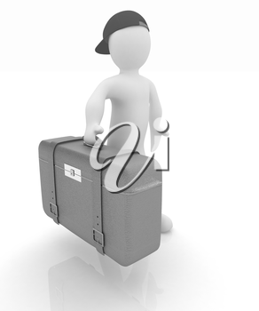 Leather suitcase for travel with 3d man on a white background