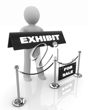 3d man opens the exhibition on a white background