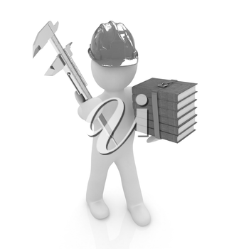 3d man engineer in hard hat with vernier caliper and best technical educational literature on a white background