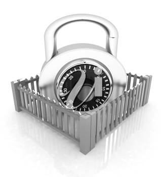 Protection concept.Lock closed colorfull fence on a white background