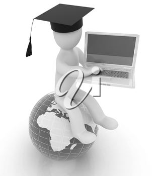 3d man in graduation hat sitting on earth and working at his laptop on a white background