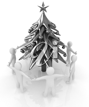 3D human around Christmas tree on a white background