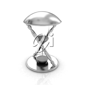 Transparent hourglass isolated on white background. Sand clock icon 3d illustration.