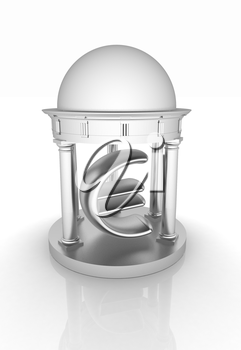 Euro sign in rotunda on a white background