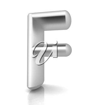 3D metall letter F isolated on white
