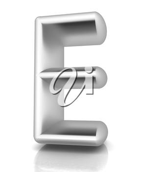 3D metall letter E isolated on white