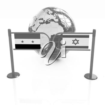 Three-dimensional image of the turnstile and flags of Israel and Syria on a white background